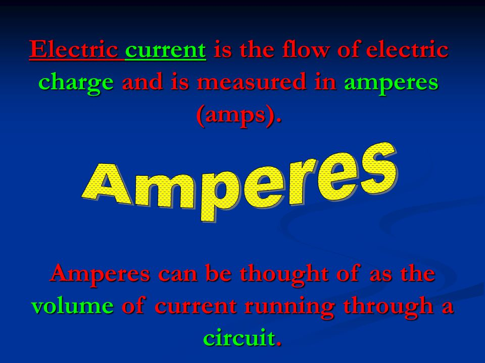 Electric current is the flow of electric charge and is measured in amperes (amps).