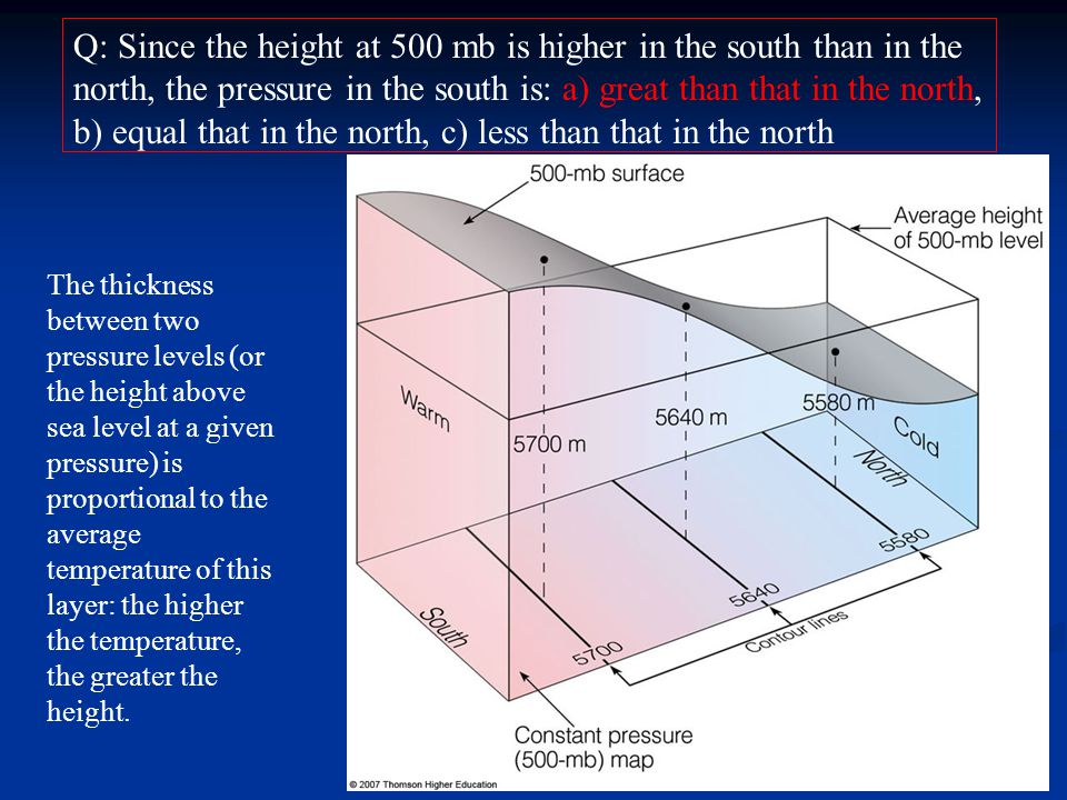 Q: Since the height at 500 mb is higher in the south than in the north, the pressure in the south is: a) great than that in the north, b) equal that in the north, c) less than that in the north