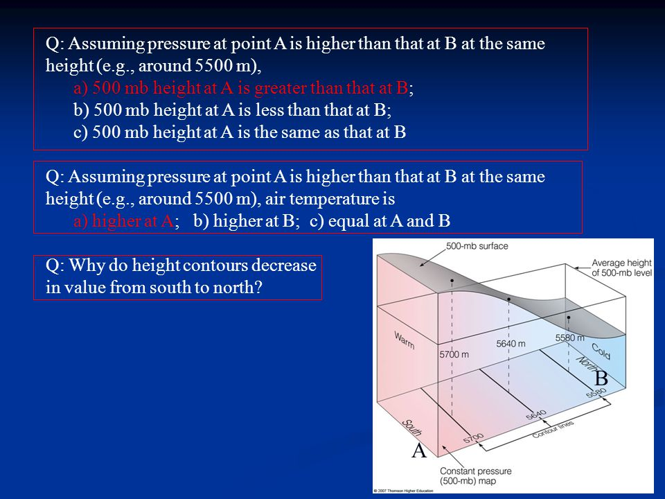 Q: Assuming pressure at point A is higher than that at B at the same height (e.g., around 5500 m),