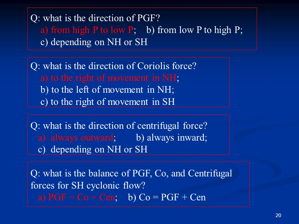 Q: what is the direction of PGF