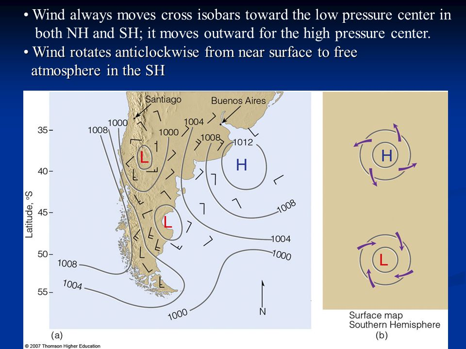 Wind always moves cross isobars toward the low pressure center in