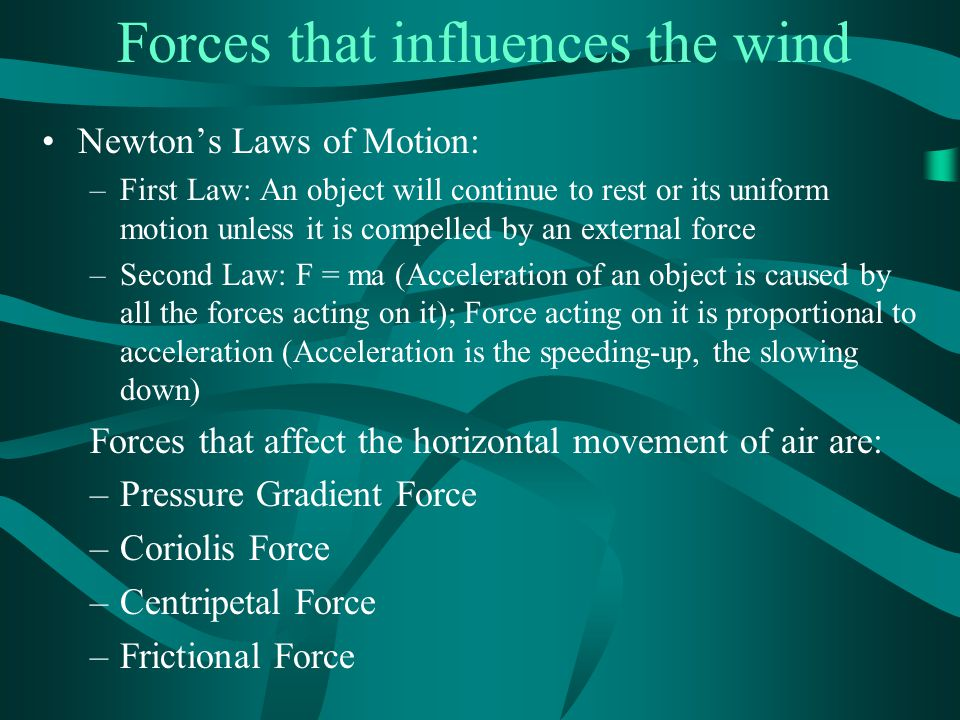 Forces that influences the wind