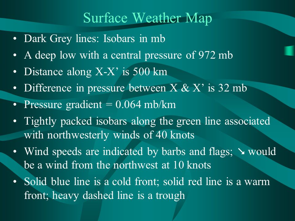 Surface Weather Map Dark Grey lines: Isobars in mb