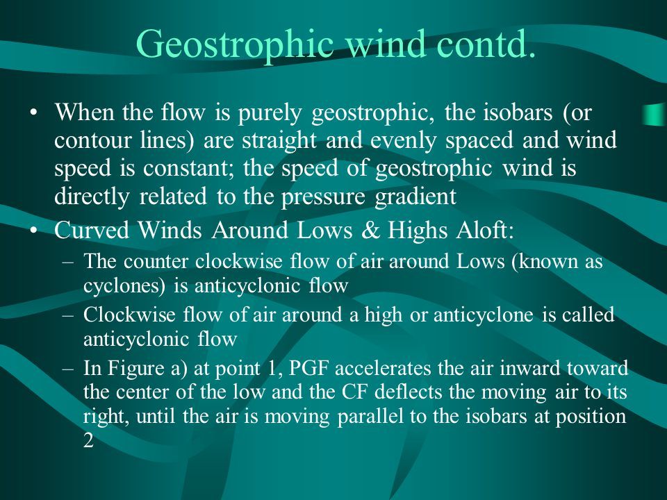 Geostrophic wind contd.