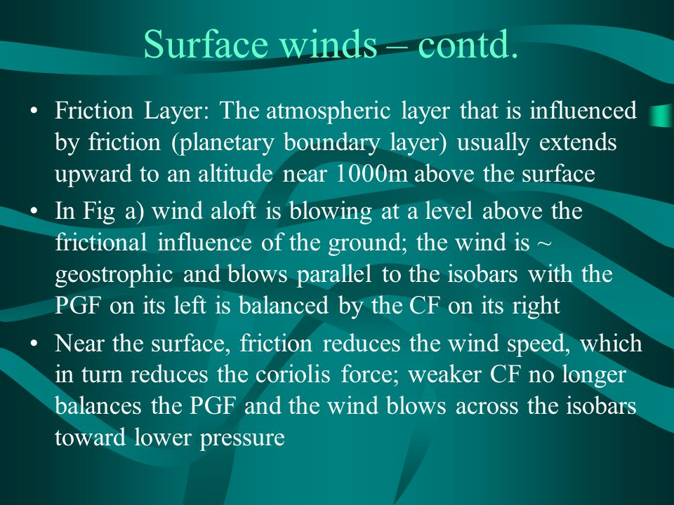Surface winds – contd.
