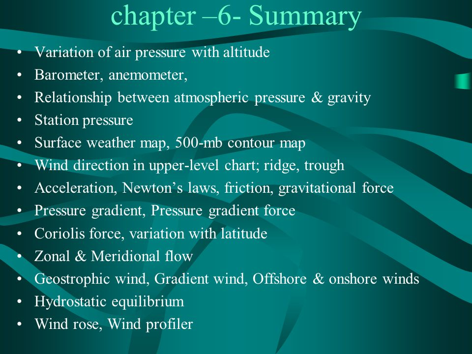 chapter –6- Summary Variation of air pressure with altitude