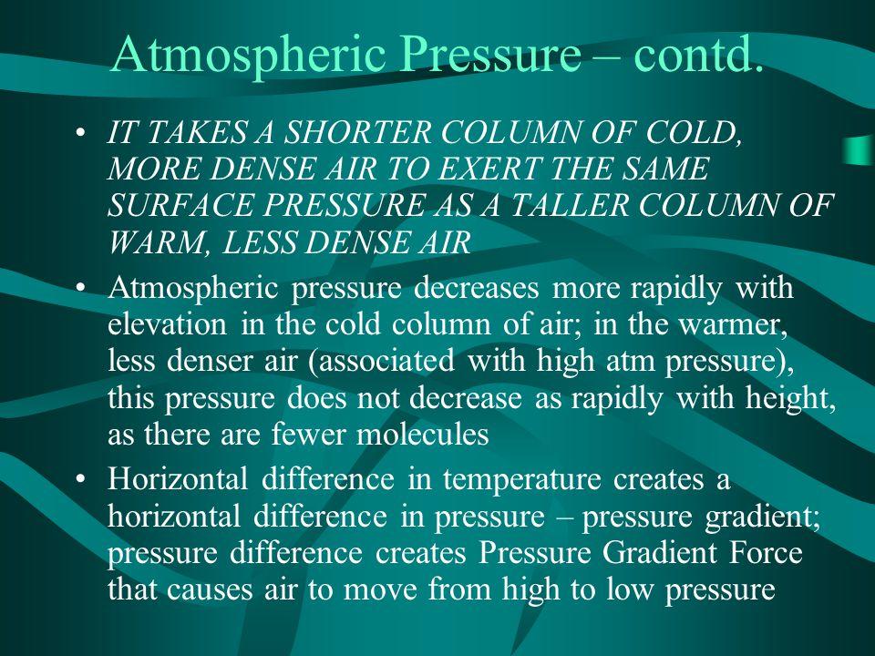 Atmospheric Pressure – contd.