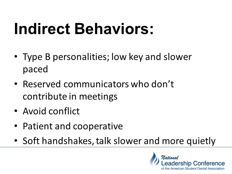Indirect Behaviors: Indirect Behaviors: