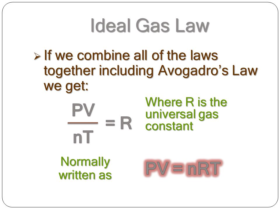 Ideal Gas Law PV = R nT PV = nRT