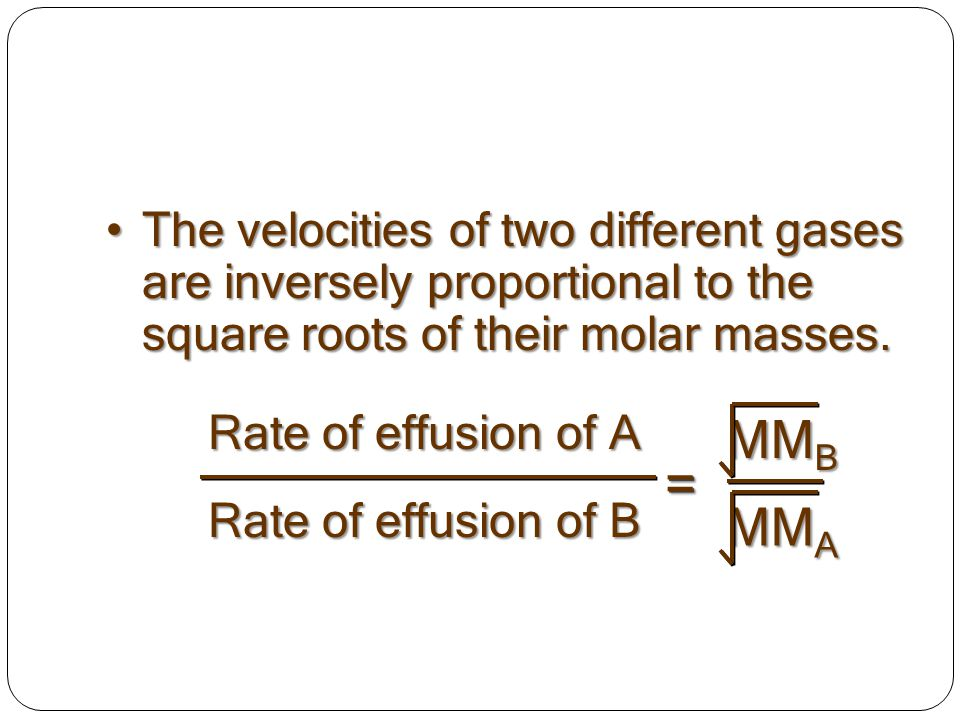 The velocities of two different gases are inversely proportional to the square roots of their molar masses.