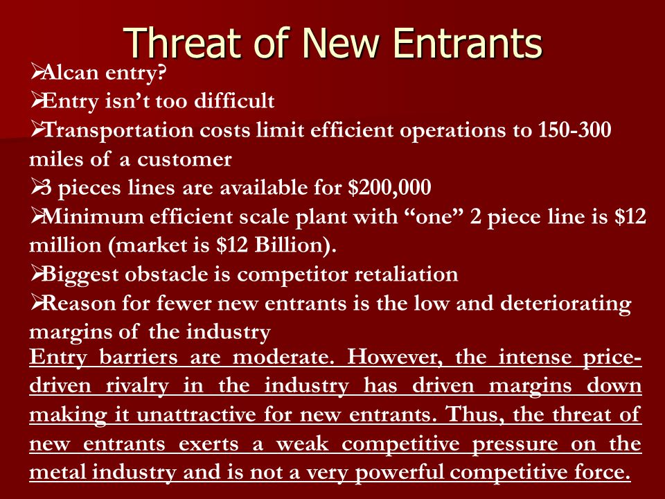 Threat of New Entrants Alcan entry Entry isn't too difficult