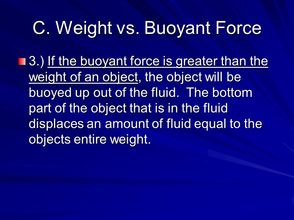 C. Weight vs. Buoyant Force