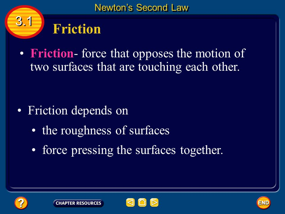 Newton's Second Law 3.1. Friction. Friction- force that opposes the motion of two surfaces that are touching each other.