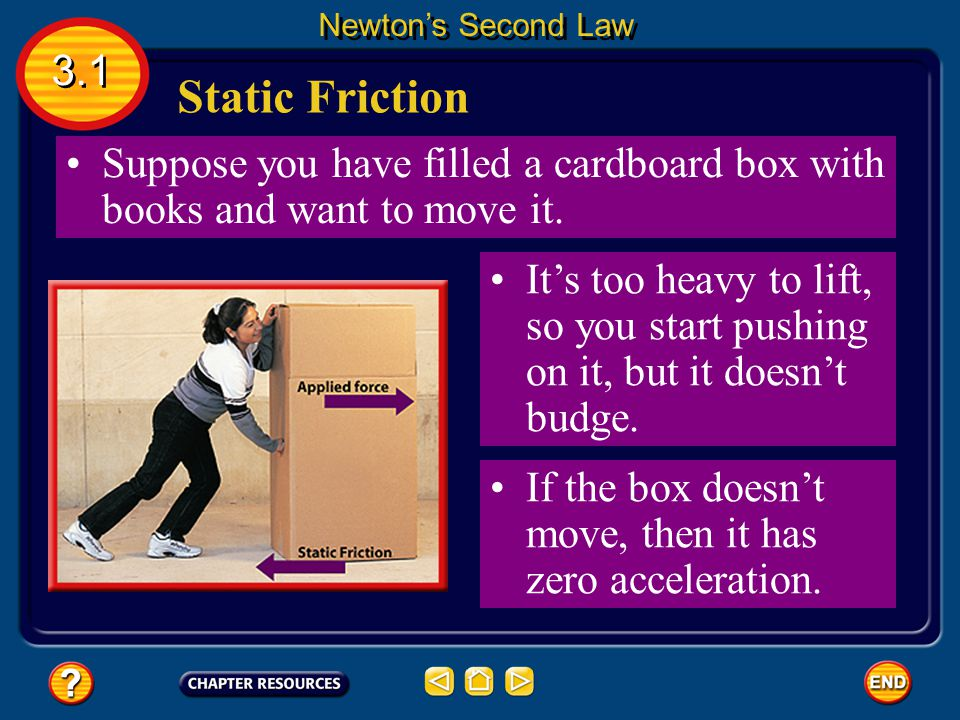 Newton's Second Law 3.1. Static Friction. Suppose you have filled a cardboard box with books and want to move it.