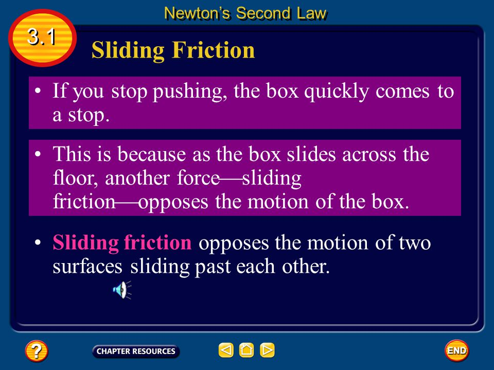 Newton's Second Law 3.1. Sliding Friction. If you stop pushing, the box quickly comes to a stop.