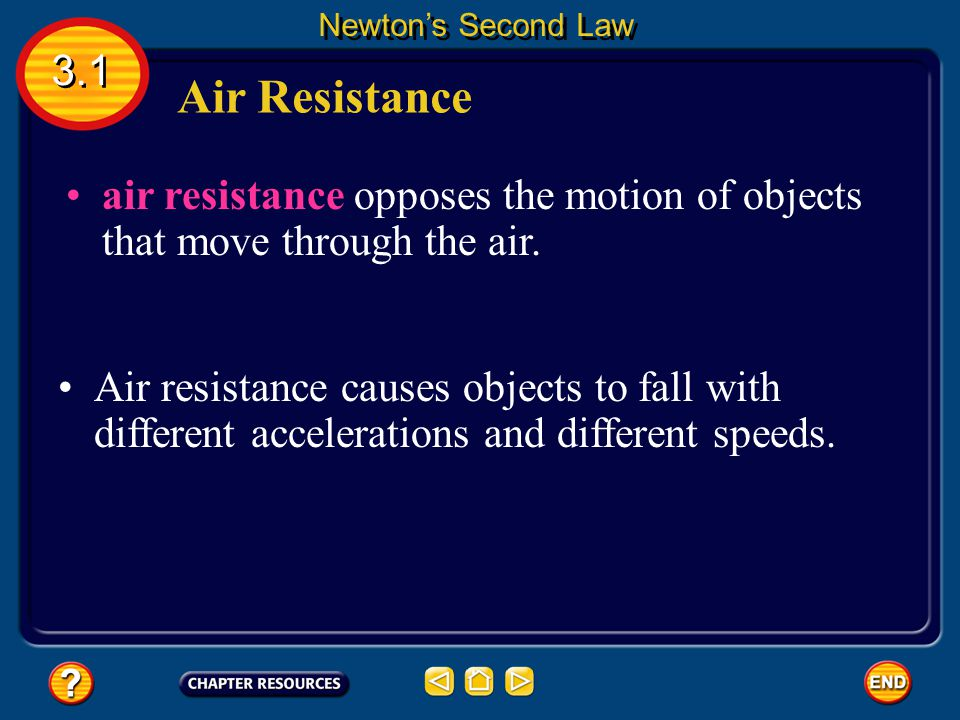 Newton's Second Law 3.1. Air Resistance. air resistance opposes the motion of objects that move through the air.