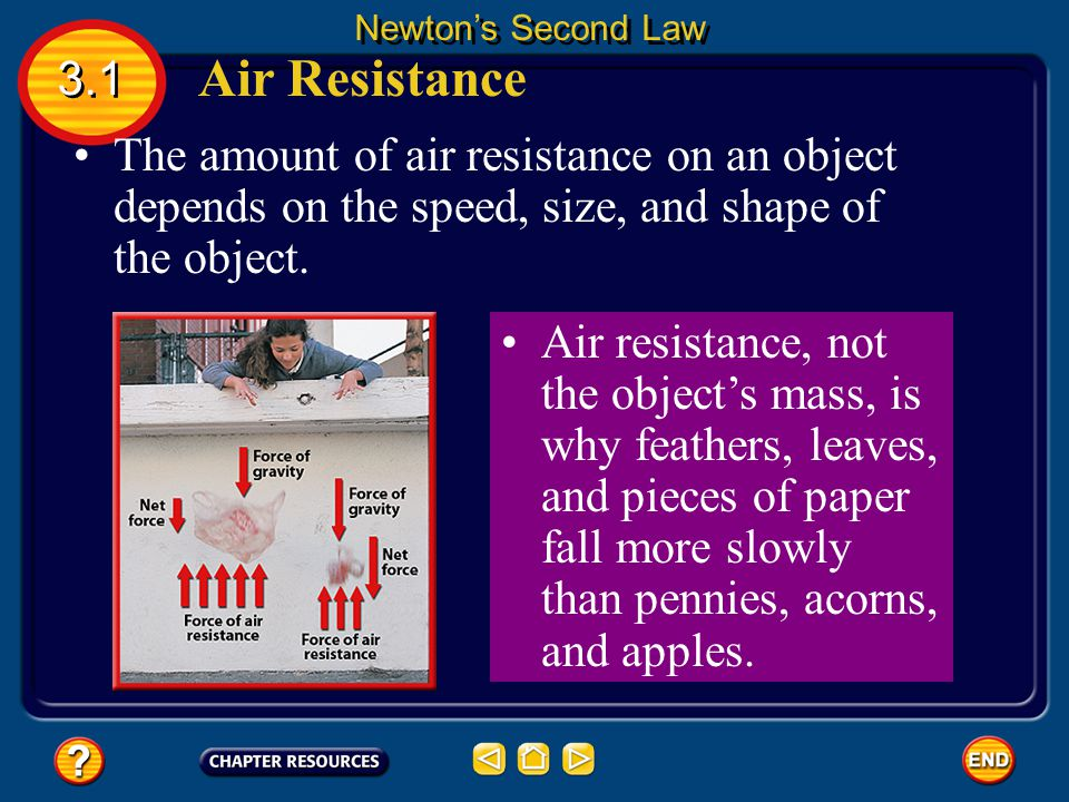 Newton's Second Law 3.1. Air Resistance. The amount of air resistance on an object depends on the speed, size, and shape of the object.