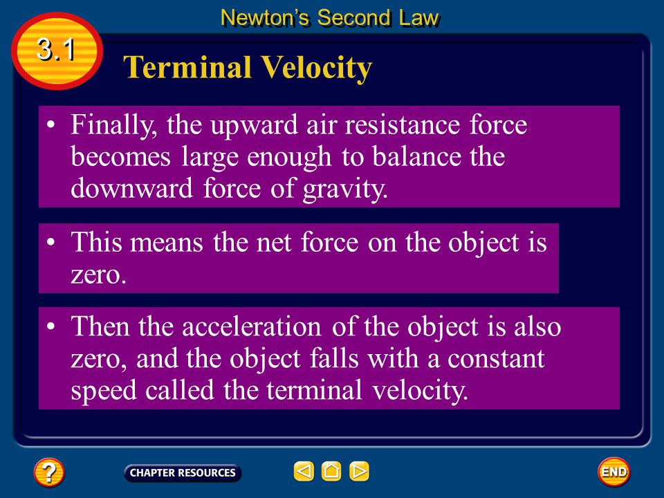 Newton's Second Law 3.1. Terminal Velocity. Finally, the upward air resistance force becomes large enough to balance the downward force of gravity.