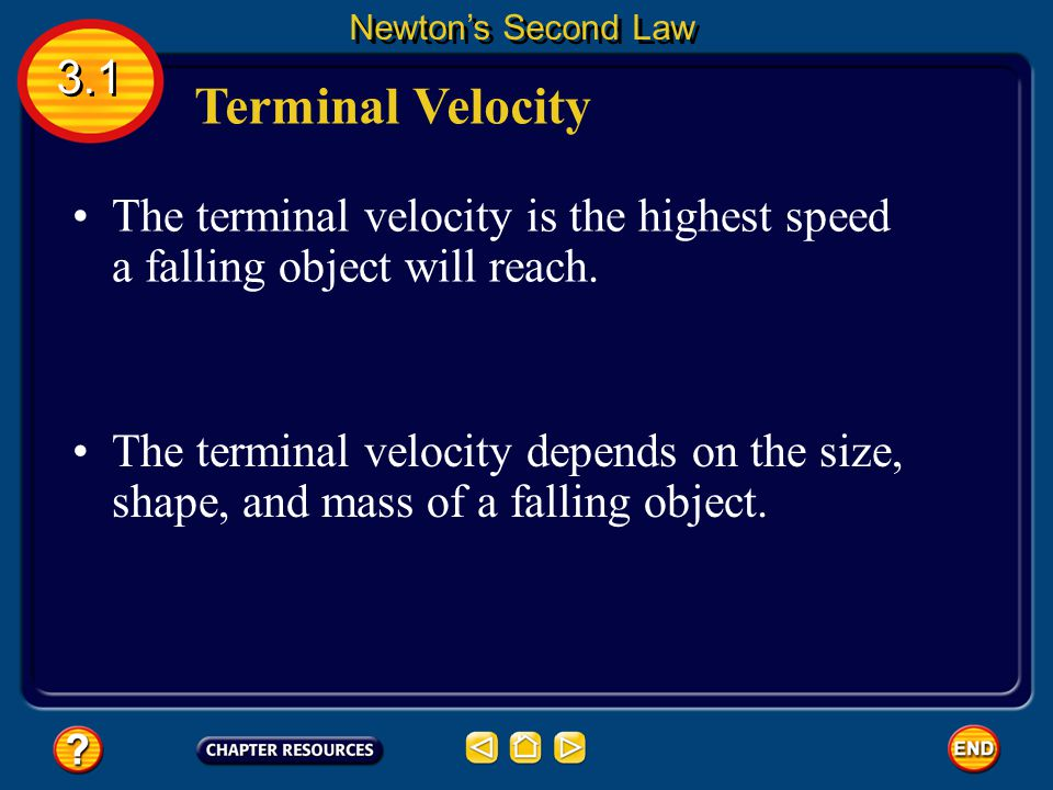 Newton's Second Law 3.1. Terminal Velocity. The terminal velocity is the highest speed a falling object will reach.