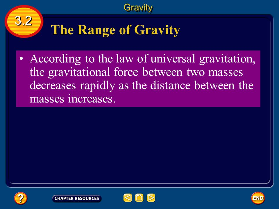Gravity 3.2. The Range of Gravity.