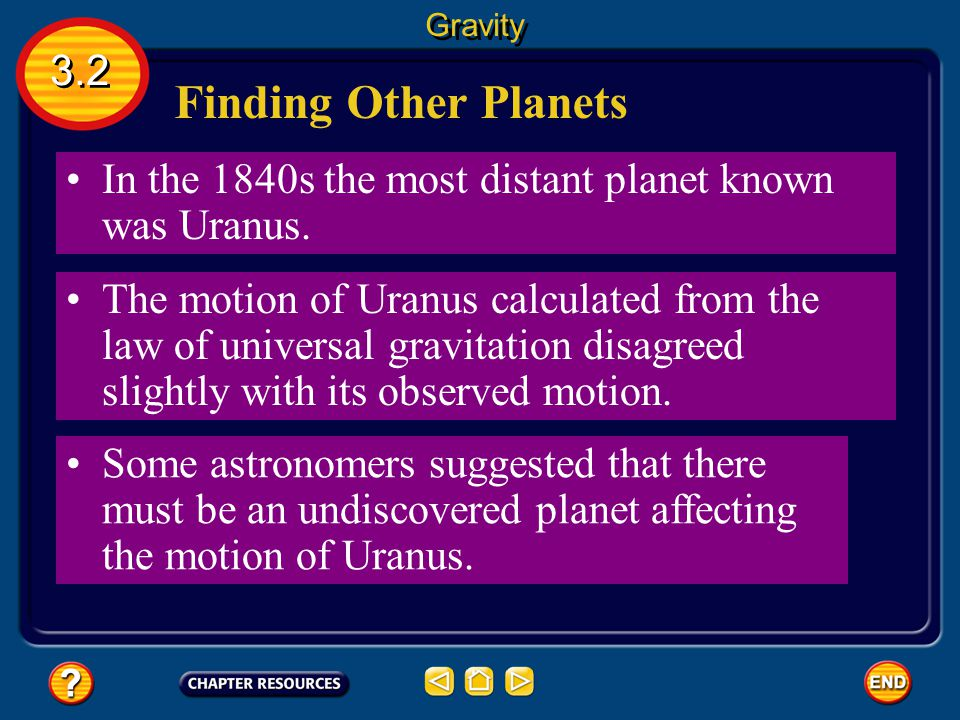 Gravity 3.2. Finding Other Planets. In the 1840s the most distant planet known was Uranus.