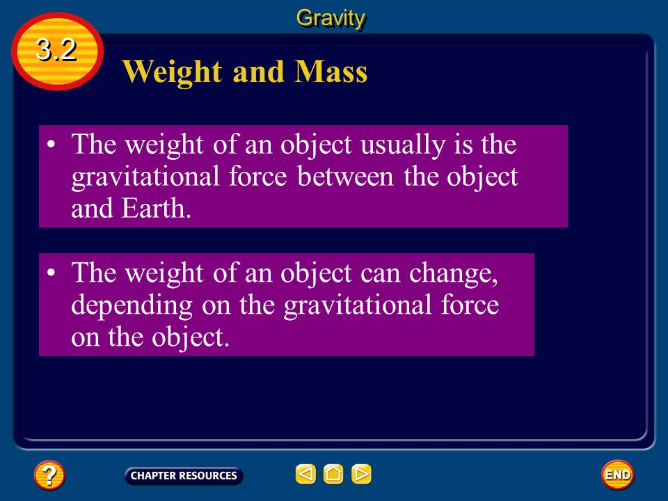 Gravity 3.2. Weight and Mass. The weight of an object usually is the gravitational force between the object and Earth.