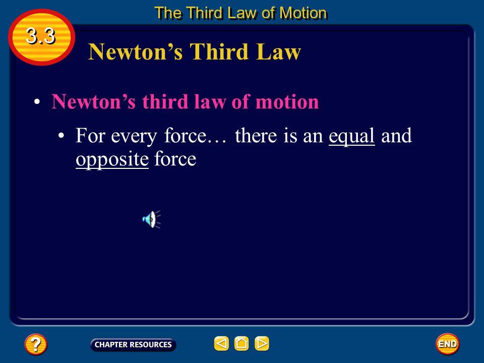 Newton's Third Law 3.3 Newton's third law of motion