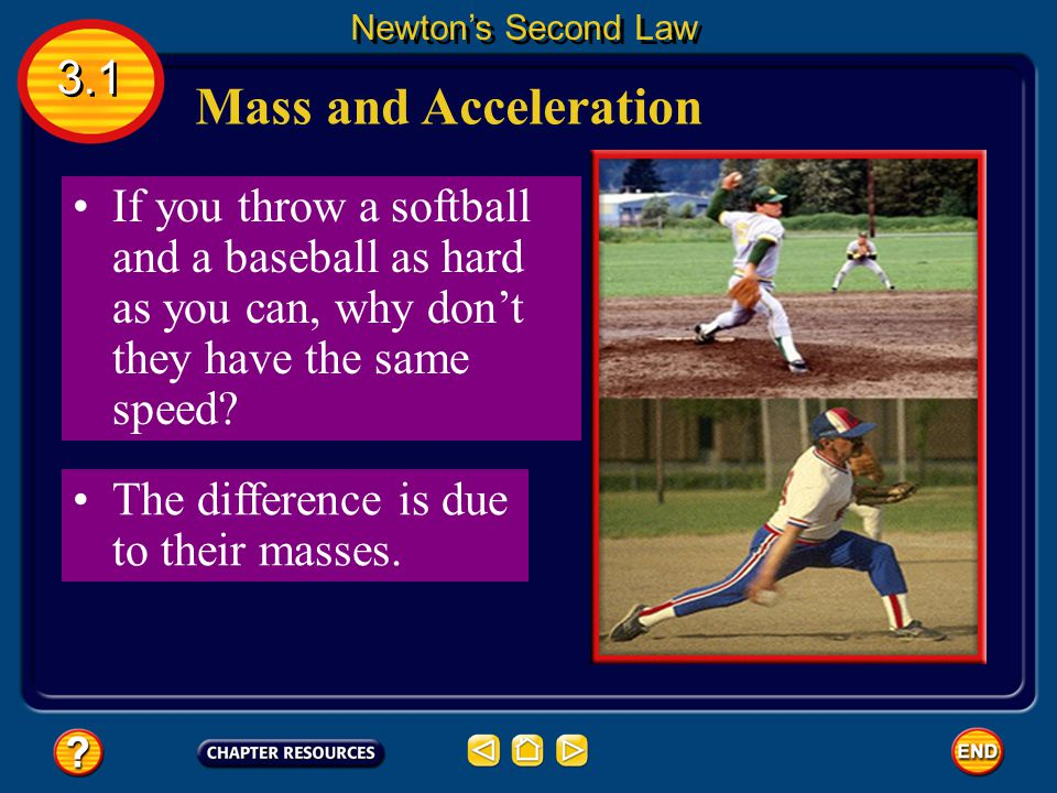 Newton's Second Law 3.1. Mass and Acceleration. If you throw a softball and a baseball as hard as you can, why don't they have the same speed