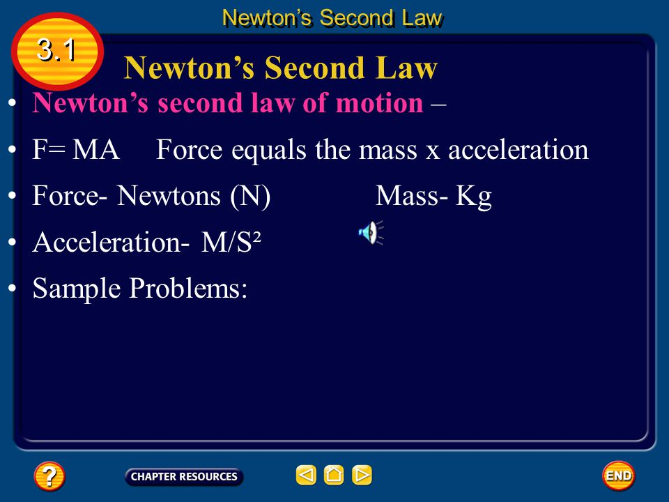 Newton's Second Law 3.1 Newton's second law of motion –