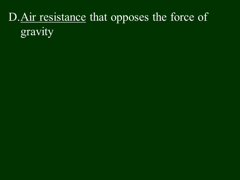 Air resistance that opposes the force of gravity