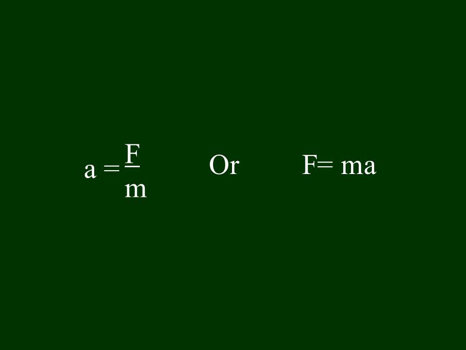 F m Or F= ma a =