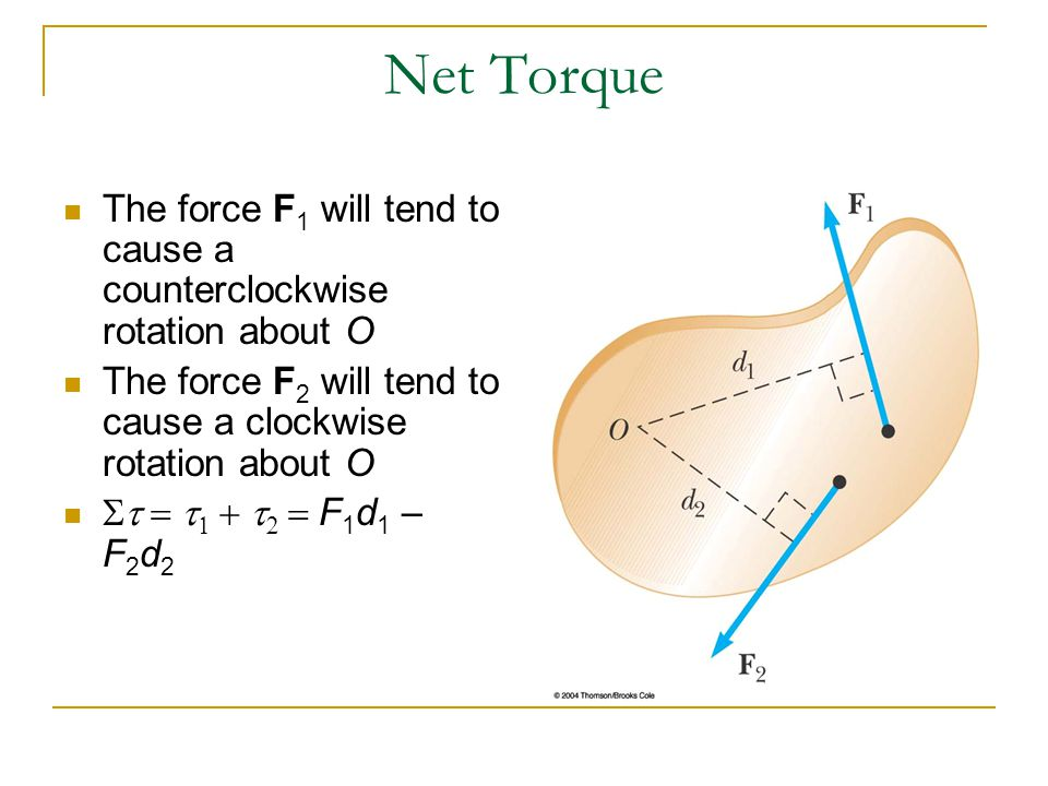 Net Torque The force F1 will tend to cause a counterclockwise rotation about O. The force F2 will tend to cause a clockwise rotation about O.