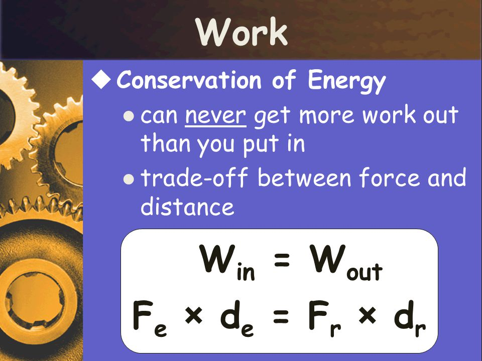 Work Fe × de = Fr × dr Win = Wout Conservation of Energy