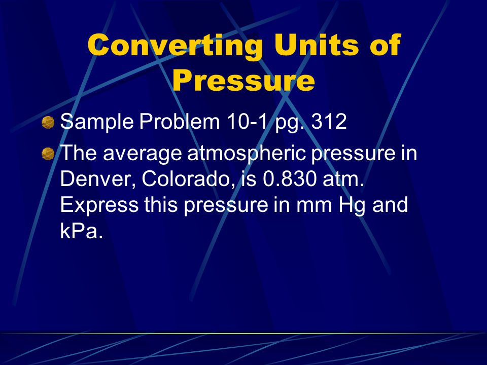 Converting Units of Pressure