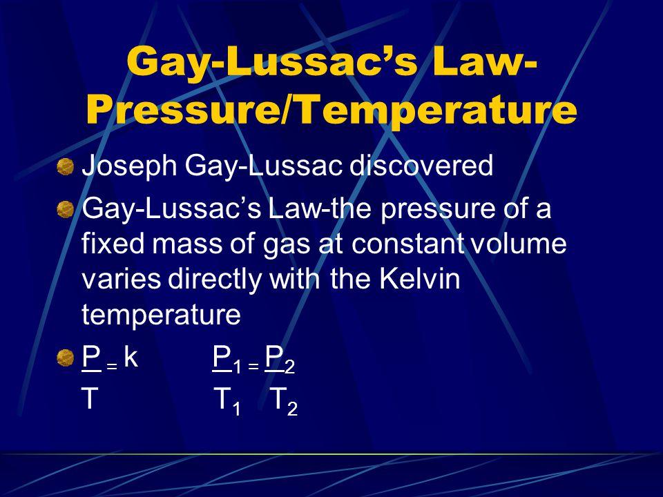 Gay-Lussac's Law-Pressure/Temperature