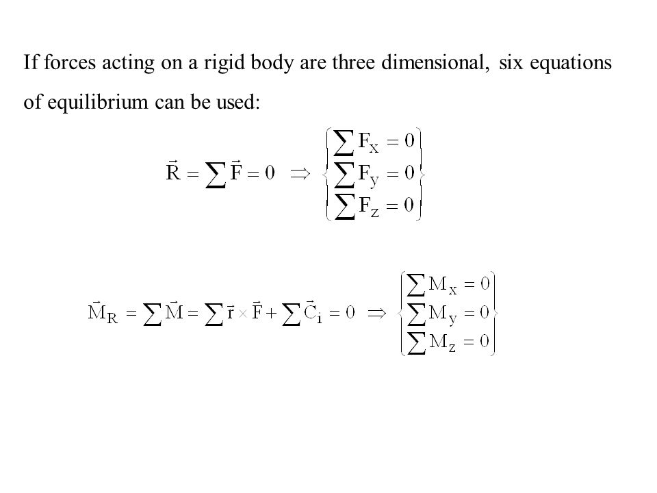 If forces acting on a rigid body are three dimensional, six equations of equilibrium can be used: