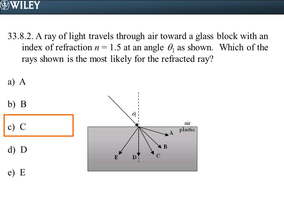 33.8.2. A ray of light travels through air toward a glass block with an index of refraction n = 1.5 at an angle 1 as shown. Which of the rays shown is the most likely for the refracted ray