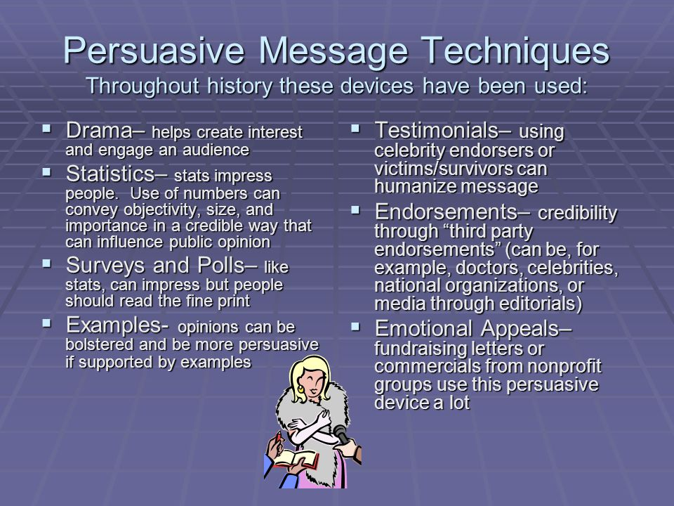Persuasive Message Techniques Throughout history these devices have been used: