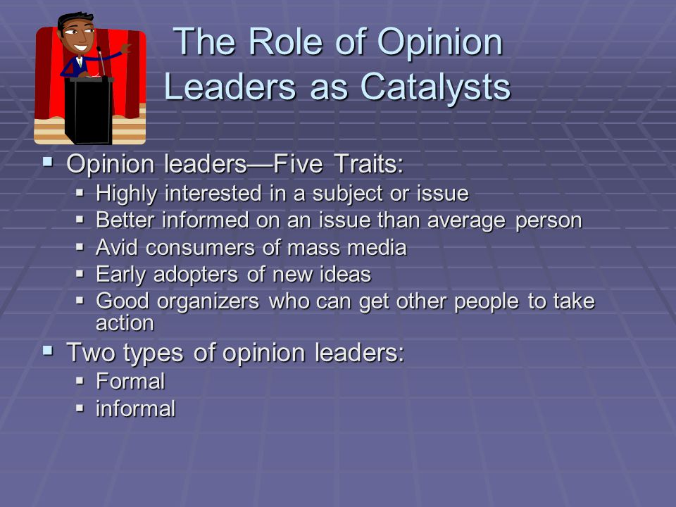 The Role of Opinion Leaders as Catalysts