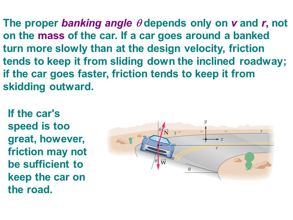 The proper banking angle  depends only on v and r, not on the mass of the car. If a car goes around a banked turn more slowly than at the design velocity, friction tends to keep it from sliding down the inclined roadway; if the car goes faster, friction tends to keep it from skidding outward.