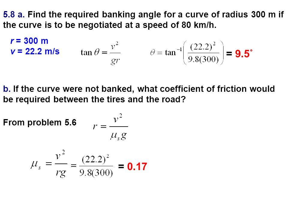 5.8 a. Find the required banking angle for a curve of radius 300 m if the curve is to be negotiated at a speed of 80 km/h.