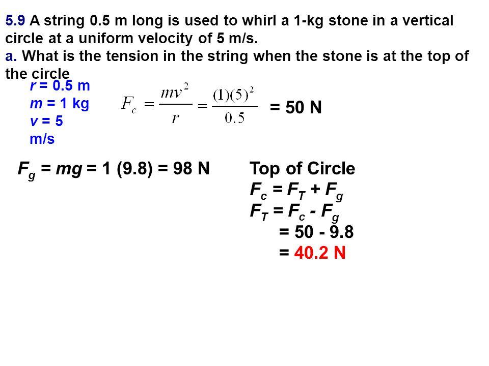 = 50 N Fg = mg = 1 (9.8) = 98 N Top of Circle Fc = FT + Fg