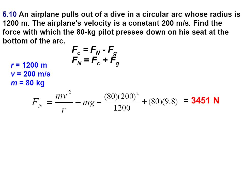 5.10 An airplane pulls out of a dive in a circular arc whose radius is 1200 m. The airplane s velocity is a constant 200 m/s. Find the force with which the 80-kg pilot presses down on his seat at the bottom of the arc.