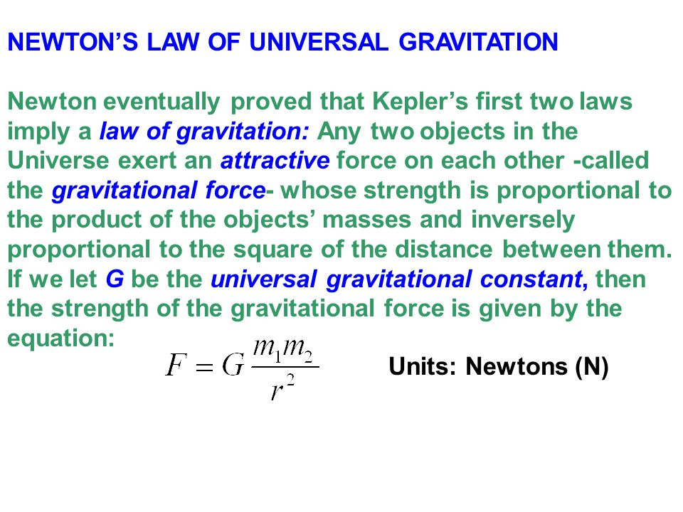 newtons law of universal gravitation Close examination of newton's universal law of gravitation and galileo's discovery that all objects fall to earth at the  the universal laws of gravitation.