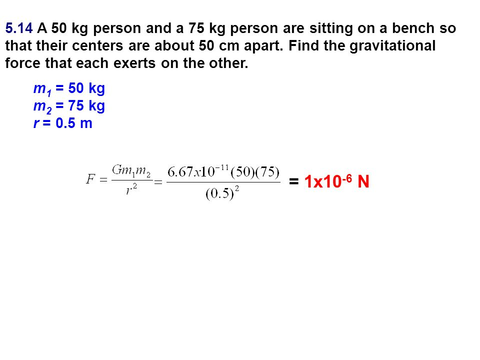 5.14 A 50 kg person and a 75 kg person are sitting on a bench so that their centers are about 50 cm apart. Find the gravitational force that each exerts on the other.
