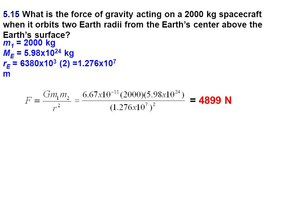 5.15 What is the force of gravity acting on a 2000 kg spacecraft when it orbits two Earth radii from the Earth's center above the Earth's surface