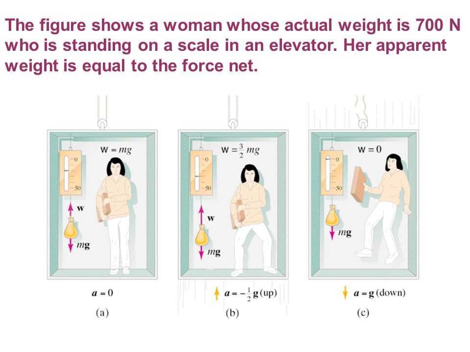 The figure shows a woman whose actual weight is 700 N who is standing on a scale in an elevator.