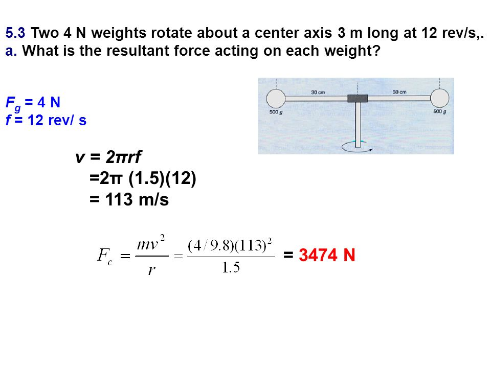 5.3 Two 4 N weights rotate about a center axis 3 m long at 12 rev/s,.