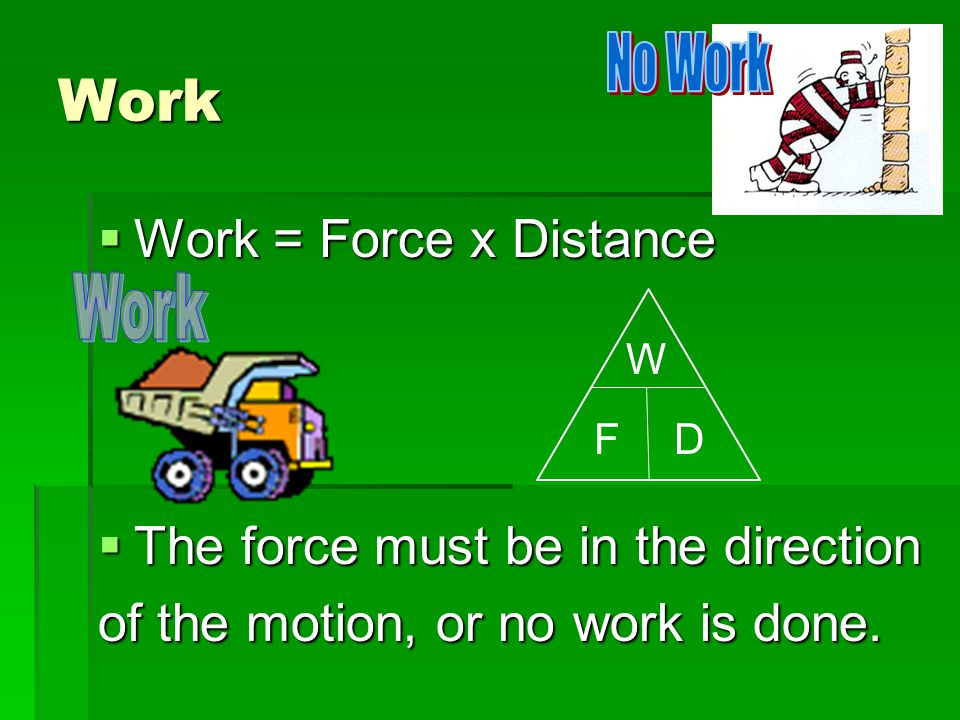 Work Work = Force x Distance The force must be in the direction