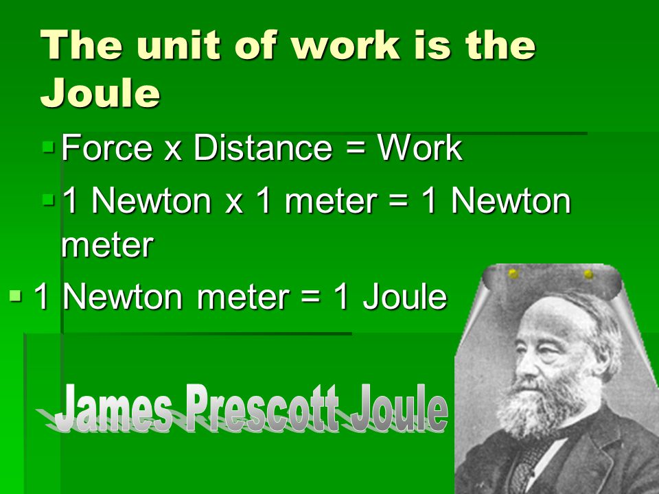 The unit of work is the Joule